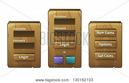Vector set of graphical user interface (UI GUI) for 2d video games. Wooden menu panels and buttons for menu. Social networks login option