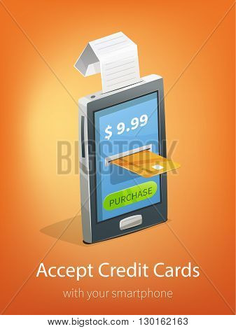 Vector illustration with smartphone cashier's check and credit card payment. E-commerce ads banner for design.
