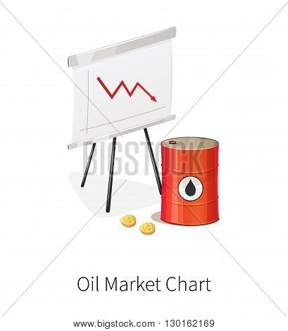 Flip chart with trend arrows. Oil market. Oil barrels and money. Isolated on white background.