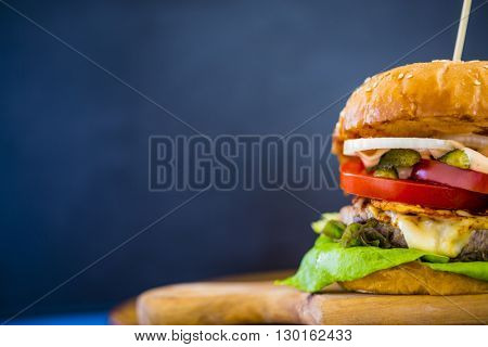 Hamburger, homemade hamburger with beef and fresh vegetables