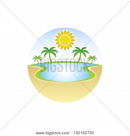 Oasis in the desert with water palm tree and sun vector illustration isolated on white background.
