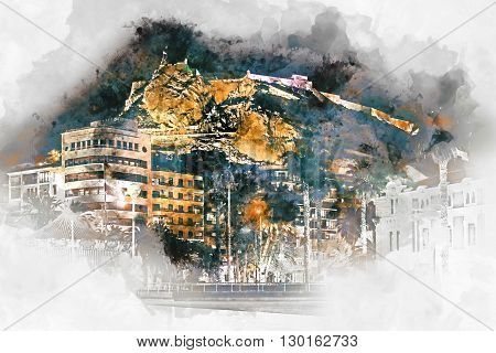 Digital watercolor painting of a Mount Benacantil with a Castle of Santa Barbara (Castillo de Santa Barbara)- fortification in the centre of Alicante city. Valencian Community Costa Blanca. Spain