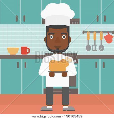 Man holding roasted chicken.