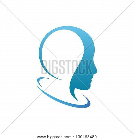 Woman or man stylish head ison vector illustration isolated on white background.