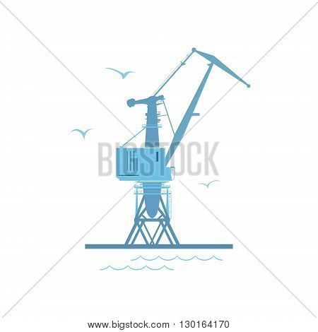 Marine Dockside Crane, Port Cargo Crane Isolated on White, Vector Illustration