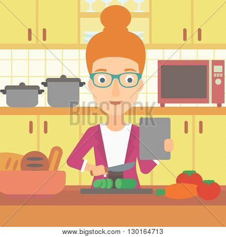 Woman cooking meal.