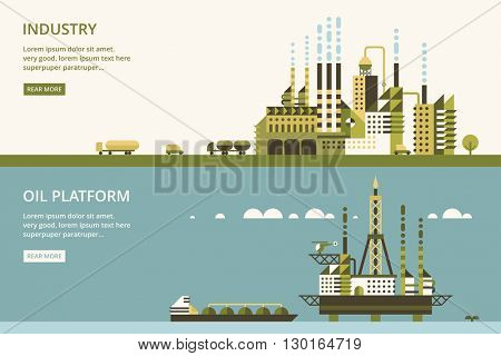 Oil platform in sea background.  industry factory. Industrial illustration in flat style.