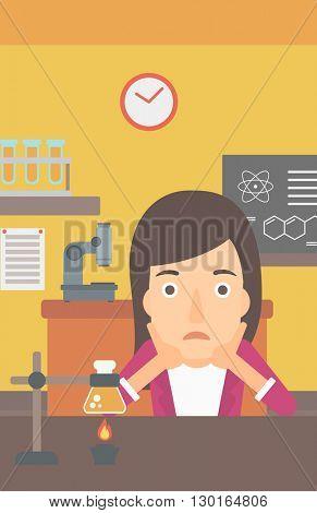 Woman in despair clutching her head.