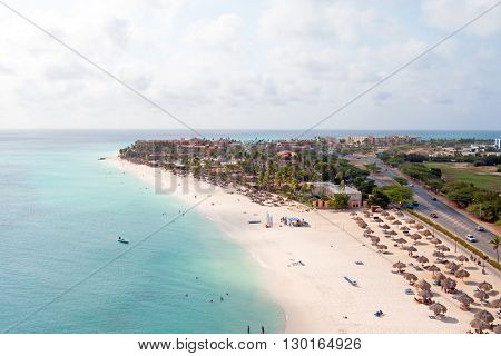 Aerial at Manchebo beach on Aruba island in the Caribbean