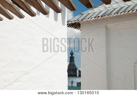 Rostov the Great in spring the kremlin fragment of a wall. The Golden Ring of Russia