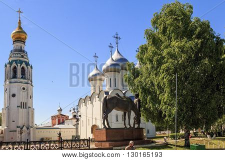 Vologda, Russia - May 27: This is monument to the famous resident of the city poet Baratynsky near the St. Sophia Cathedral May 27, 2013 in Vologda, Russia.