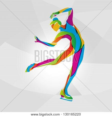 Creative silhouette of ice skating girl. Ice show, rainbow colors vector illustration