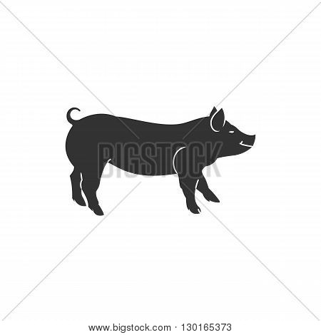 Pig silhouette icon art vector illustration isolated on white background.