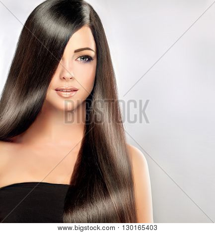 Beautiful brunette girl with long and straight black hair . Shiny smooth  and healthy well-groomed hair