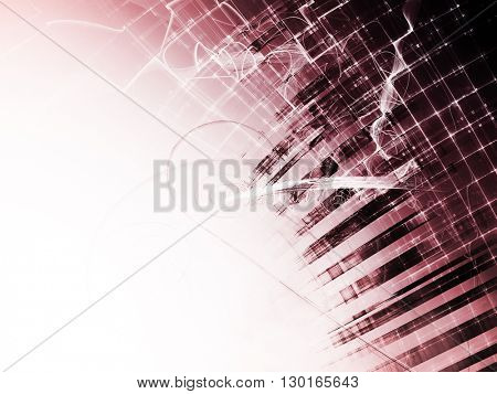Abstract background element. Fractal graphics series. Composition of distorted grid and random fractal effects. Information technology concept. Red colors.