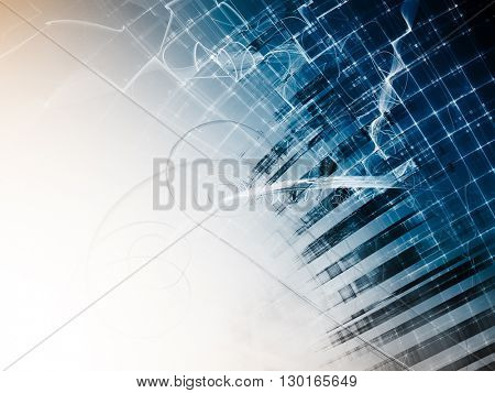 Abstract background element. Fractal graphics series. Composition of distorted grid and random fractal effects. Information technology concept.