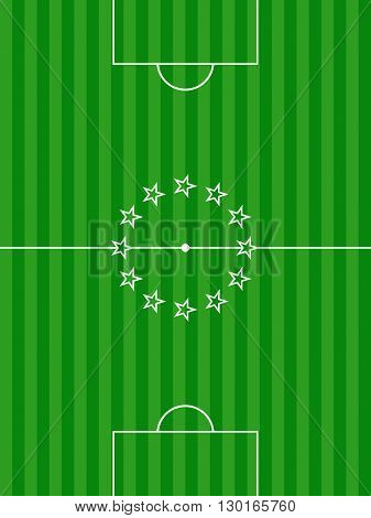 Green Football Soccer Pitch Background with Stars on is Centre