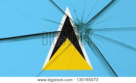 Flag od Saint Lucia painted on broken glass