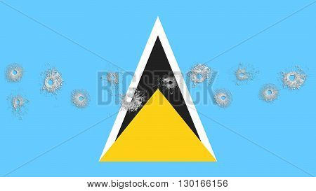 flag of Saint Lucia painted with glass bullet holes