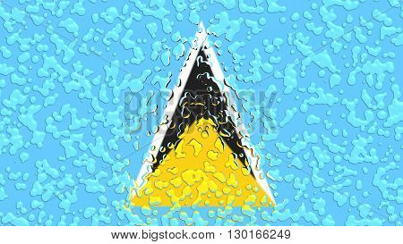 Flag of St. Lucia  painted with water drop