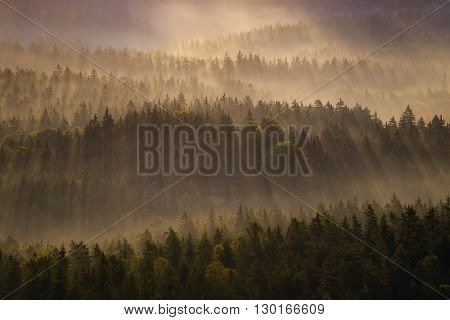 Kleiner Winterberg Silhouettes, Saxon Switzerland, Germany