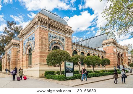 MADRID,SPAIN - APRIL 24,2016 - Velazquez Palace in Retiro park of Madrid. It was built between 1881 and 1883 for the National Exhibition.
