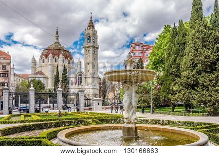 MADRID,SPAIN - APRIL 24,2016 - Church of San Manuel and San Benito in Madrid - view from Retiro park. The Church of San Manuel y San Benito is a Catholic church located in Madrid.