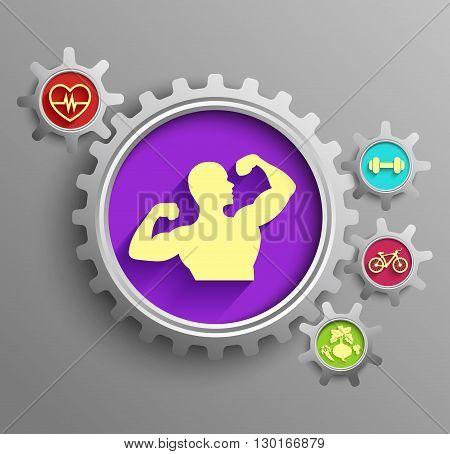 Vector illustration of a bodybuilder set inside sprocket gear cog on isolated purple background