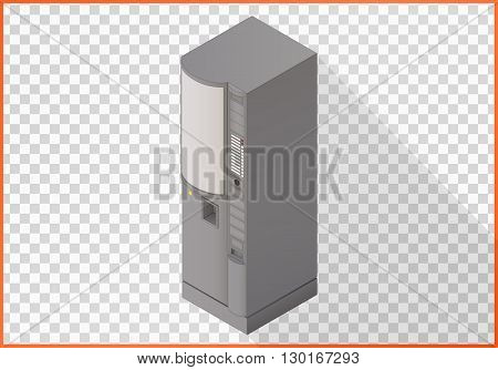 Coffee maker apparatus isometric perspective view flat vector.  Vending machine 3d illustration