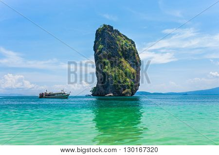 speed boat with Poda island at Krabi. Poda is island travel package tour at Krabi Andaman ocean Thailand