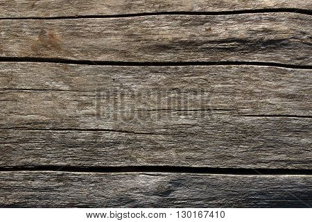 Texture of old worn out of weather wooden surface with many cracks and spots for background