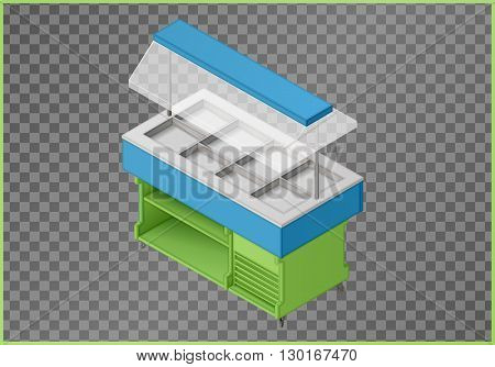 Counter flat vector. Stance 3d illustration. Pushcart isometric perspective view.