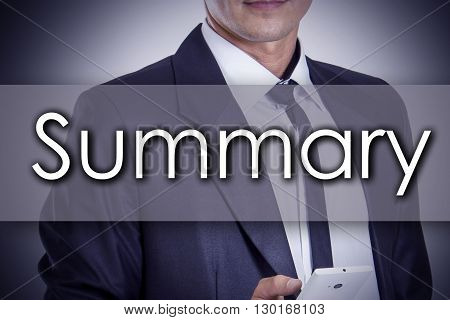 Summary - Young Businessman With Text - Business Concept