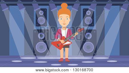 Musician playing electric guitar.