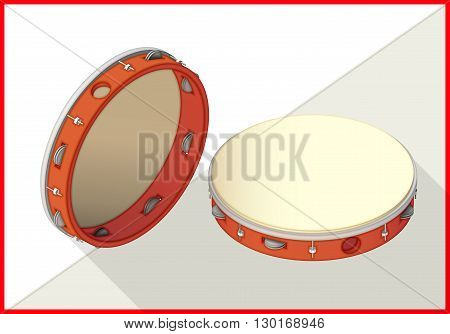 Tambourine isometric perspective view flat vector 3d illustration
