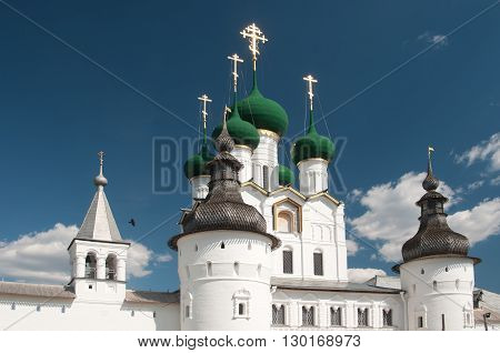 Rostov the Great in spring view to the kremlin The Church Of St. John The Evangelist. The Golden Ring of Russia
