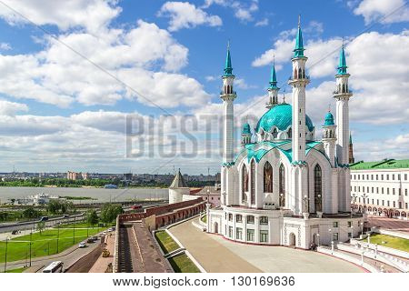 Horizontal photo with Qolsharif Mosque at the right side and Kazan at left. Kazan Tatarstan Russia.