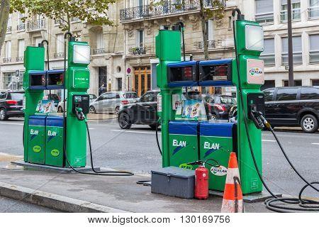 Paris France - September 12 2015: Gas station in the center part of Paris