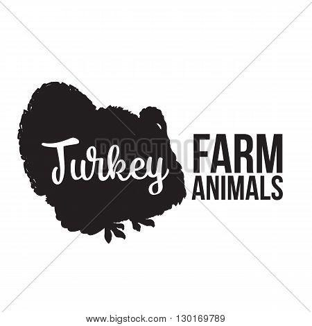 Black contour farm animal with a white lettering inscription inside, Logo turkey bird animal, outline for the product, illustration contour farming turkey bird with lettering