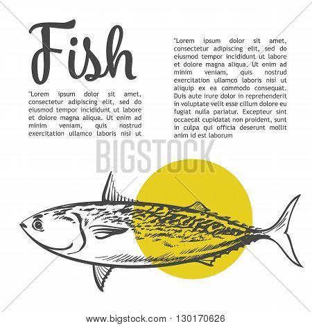 Fish with a yellow spot and lettering inscription, vector sketch hand-drawn illustration of a white background, sketch fresh fish, hand-drawn sea food for fish