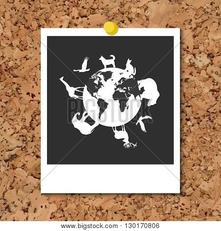 Vector cork board with instant photo card and white animals silhouettes around blue planet Earth. World Environment Day holiday. Dog cat deer eagle bear elephant giraffe silhouettes.