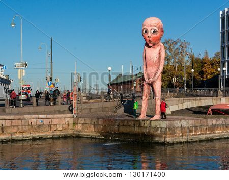 Helsinki, Finland - October, 18, 2014:  Statue of a pissing boy