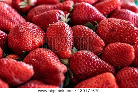 Strawberry red  fruit group close up. Health