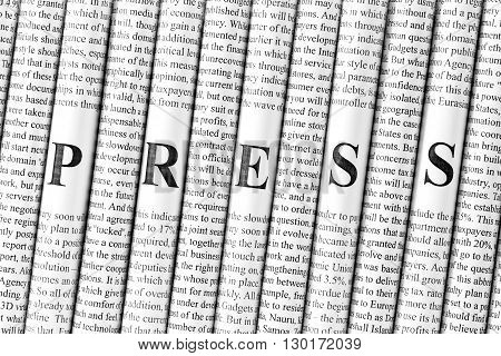 Stack of newspapers with small text and big letters forming together word