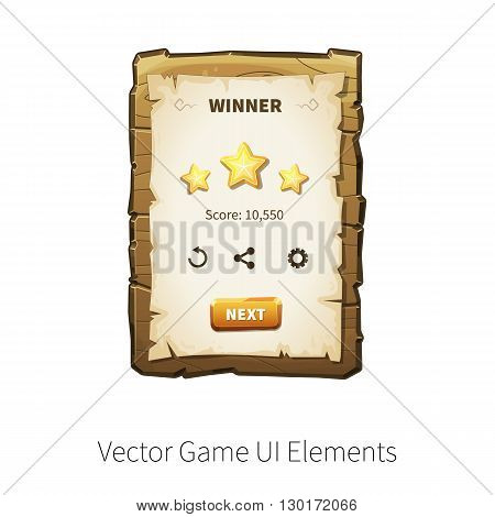 Win. Level completed. Vector graphical user interface (UI GUI) for 2d video games. Wooden menu panels and buttons for menu.