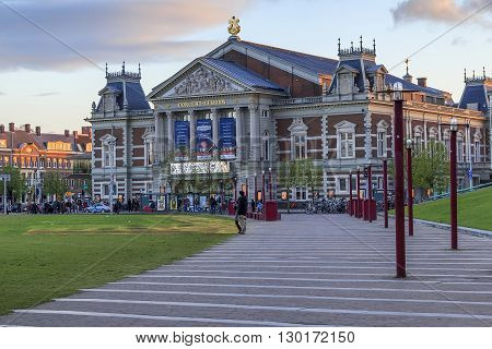 Amsterdam, Netherlands - May 4: Concertgebouw is a concert building with two halls for stage shows built in the 19th century May 4, 2013 in Amsterdam, Netherlands.
