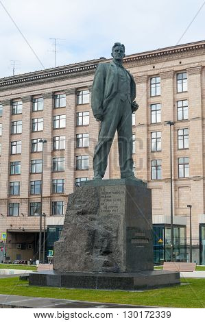 MOSCOW - OCTOBER 8: Monument to Vladimir Mayakovsky poet at Triumfalnaya Square on October 8. 2015 in Moscow. Mayakovsky (1893