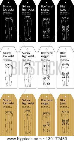 Vector tag design with hand drawn elements. Black, white or craft paper. Different models of trendy jeans.