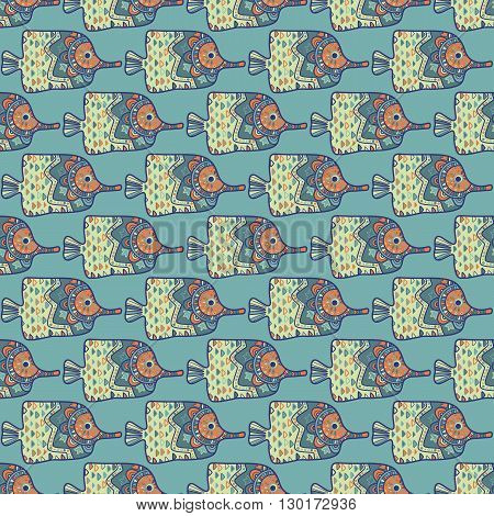 vector seamless pattern with tropical fish. Abstract illustrations.