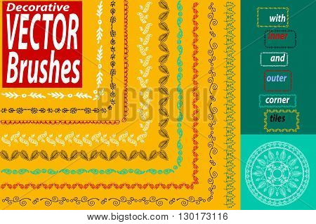 Vector Decorative Scribble Paintbrushes With Inner And Outer Corners. Hand Drawn Ink Brushes. Seamle